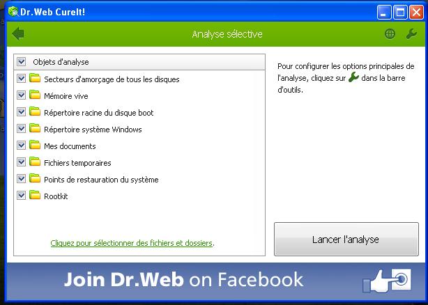Eliminer Virus, Malwares et Adwares avec l'Anti-Virus Dr Web Cureit en ligne