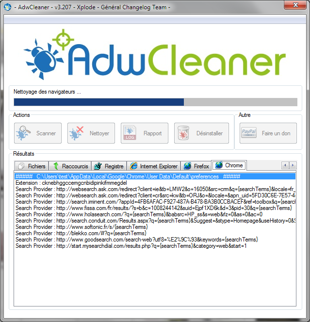 Desinstaller SearchBar ou Bar Search Toolbar et les Adwares Indésirables avec AdwCleaner