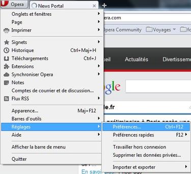 Ouvrez Opéra puis appuyer simultanément sur Ctrl + F12 pour accéder au menu Préférences ou aller dans les options puis Réglages puis Préférences