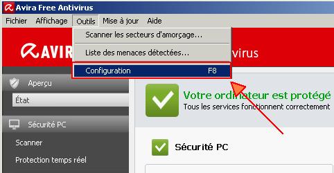 Autre solution double cliquez sur l'icône pour ouvrir Avira et allez dans Outils puis Configuration F8