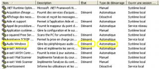 Dans la fenêtre Services vérifier que le service Audio Windows est démarré automatiquement