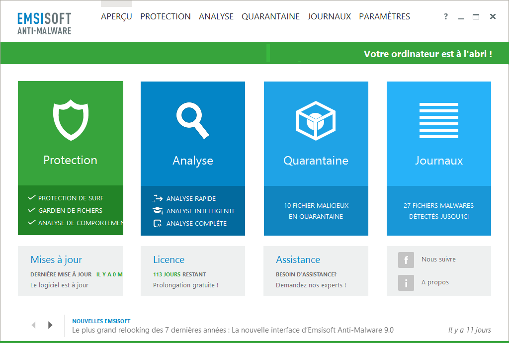 Supprimer Default Search ou Default-Search.net de mon PC avec Emsisoft Anti-Malware