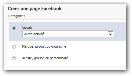 Les types de pages Facebook