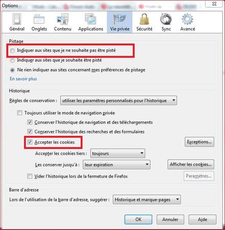 Quand vous activer l'option ne pas pister chaque site n'est pas obligé de le respecter