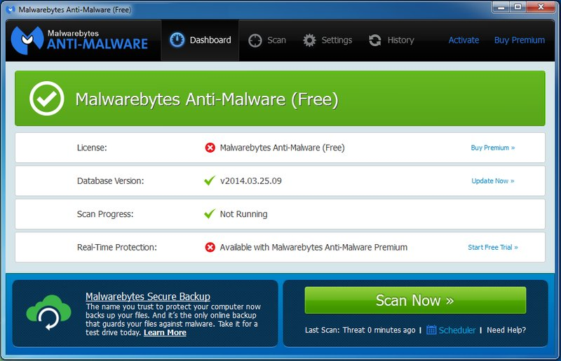 Désinstaller et Supprimer Virus Software release pack ou Virus Software Update Available de mon ordinateur avec Malwarebytes Anti Malware