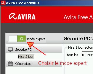 Le panneau de configuration d'Antivir s'ouvre