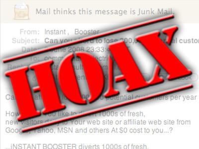 hoax (en français canular) un courrier électronique propageant une fausse information
