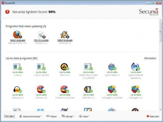 résultat Scan de vos mise a jour systeme et logiciels