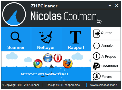 ZHPCleaner Rétabli les Paramètres Proxy et Supprime Powered by Search Voyage ou Ads by Search Voyage et les Redirections de votre Navigateur